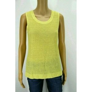 Talbots Womens Top Tunic Linen Yellow Knit Eyelet